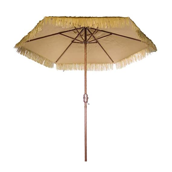 "Outdoor Patio Umbrella 9-Feet Thatched Tiki Market Table Umbrella Push Button Tilt Crank (9 FT, Tiki Umbrella) - 9 Foot Tropical Island Thatched Umbrella - UPF 50+ Protection - Perfect for Tiki Bar, Beach, Patio, Deck, Garden, Restaurant and Cafe 9' thatch umbrella comes with Heavy duty 1.5"" steel poles and steel rectangle ribs with wood grain finish, Durable polyester canopy sew with plastic straw gives our outdoor canopy tiki hut a tropical tone 9 ft patio umbrella easily opens and closes with crank lifting system - shades-parasols, patio-furniture, patio - 41uVpy0qf8L. SS570  -"