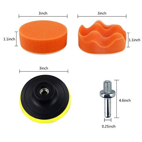 Coceca 26PCS 3 Inch Car Foam Drill Polishing Pads, Buffing Sponge Pads Kit for Car Sanding, Polishing, Waxing,Sealing Glaze by Coceca (Image #1)'