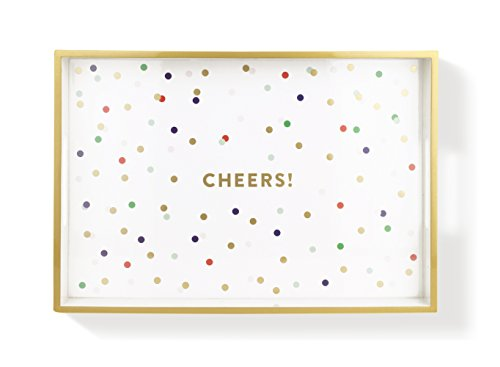 Fringe Cheers Lacquered Tray, 12.5 x 8.63, Metallic Gold ...
