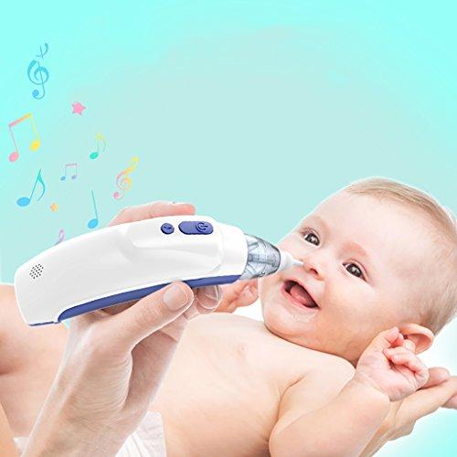JLRQY Limpiador De Nariz Eléctrico del Aspirador Nasal del Bebé con Música, 2Pcs Extremidades De Silicona Reutilizables...