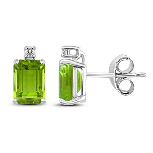 Cut Earring 7x5mm Peridot Emerald (14K White Gold 7x5MM Emerald Shaped Peridot and Diamond Earrings)
