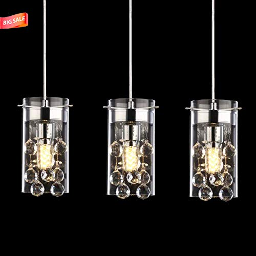 - Lutriva Home 3 Pack Contemporary Indoor Mini Pendant Lighting, Decorative Clear Glass Shade Pendant Lighting Fixture with Chrome Finished