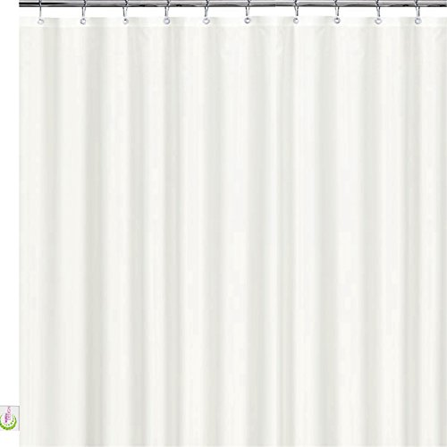 41uVr7LhWDL - Mildew Resistant Fabric Shower Curtain - 72x72 White polyester Curtain for Bathroom - Waterproof Odorless Eco Friendly Anti Bacterial - Heavy Duty Metal Grommets - Creatov Design