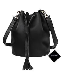 xhorizon TM FL1 Women Soft Leather Purse Tassel Bucket Bag Cross body Handbag