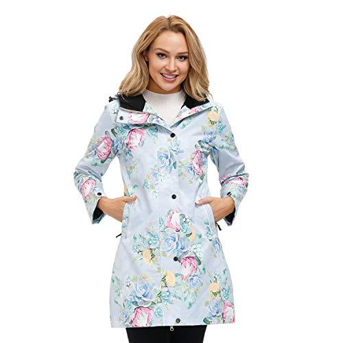 Womens Printed Waterproof Windbreaker Rain Coat Lightweight Mositure Wicking Active Outerwear Jackets With Hood