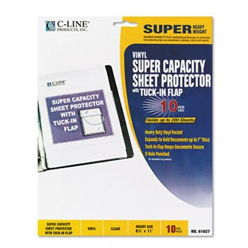 C-Line® Super Capacity Sheet Protector with Tuck-In Flap PROTECTOR,SHEET,W/FLAP,CR (Pack of6)