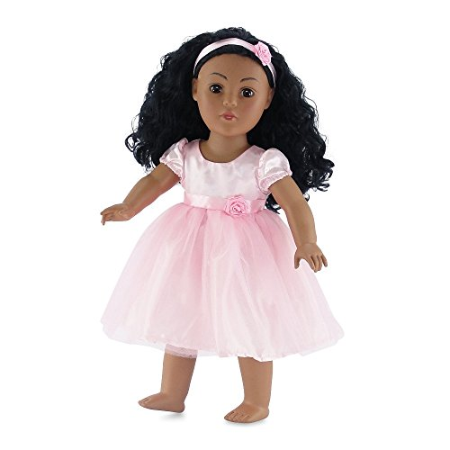 18 Inch Doll Clothes | Pink Easter Tutu Dress, Includes Matching Rosette Headband | Fits 18