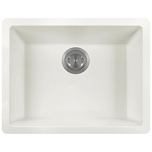 - 808 Dual-mount Single Bowl Quartz Kitchen Sink, White, No Additional Accessories