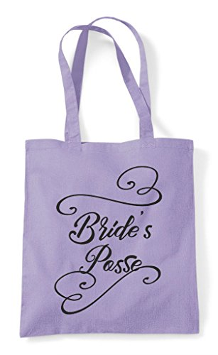 Bride's Posse Party Do Lavender Shopper Personalised Tote Bag Customised Hen AxEdawtx