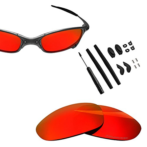 BlazerBuck Anti-salt Polarized Replacement Lenses & Sock Kit for Oakley Juliet - Fire Red