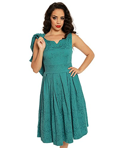 Lindy Bop 'Marianne' Teal Swing Dress and Jacket Twin Set (Brocade Zip Jacket)