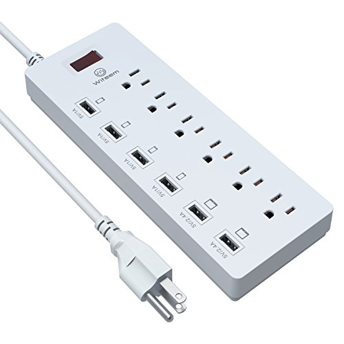 Witeem Power Surge Protector 6 AC Outlets with ...