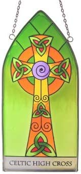 Royal Tara Stained Glass Window Hang Irish Suncatcher with High Cross and Celtic Knots Design
