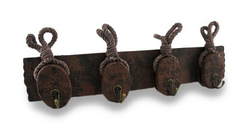 Wooden Distressed Pulley and Rope Hanging Wall Hook Rack Wooden Pulley