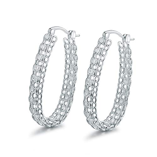 (Barzel 18K Gold Plated Filigree Link Hoop Earrings (Silver))