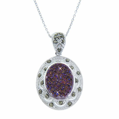 Sterling Silver Oval Purple Druzy Gemstone Pendant Necklace with Marcasite, 18""