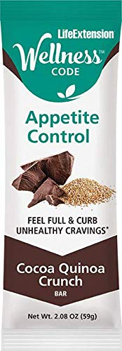 Life Extension Wellness Code Appetite Control Bars (Cocoa Quinoa Crunch) 12Count, -