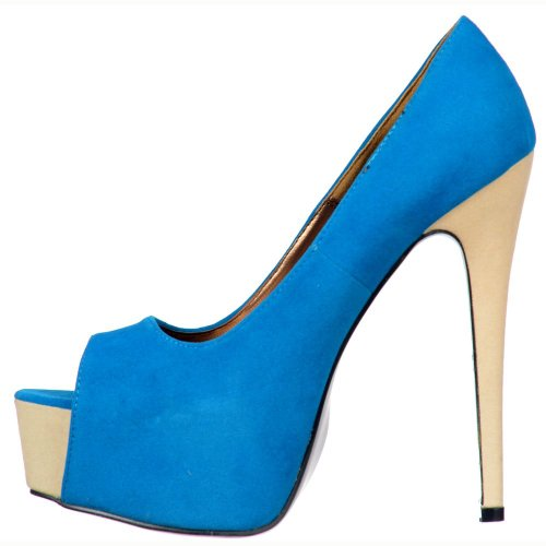 Onlineshoe Damen Party Schuhe Pumpen Blau / Beige