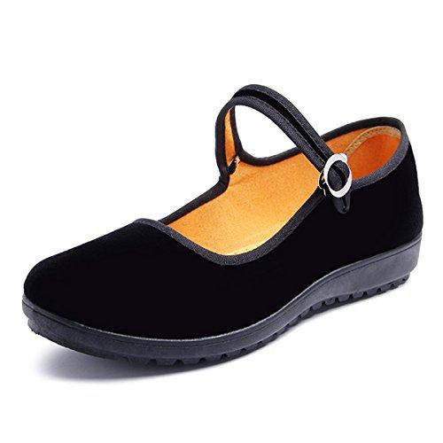 DeerYou Velvet Mary Jane Ballet Flats Comfort Women Work Walking Shoes Black US (Velvet Ballerina Women Flat Shoes)