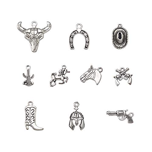 (Fashewelry 10Pcs Antique Silver Western Theme Charms Collection Tibetan Metal Pendants for DIY Jewelry Making)