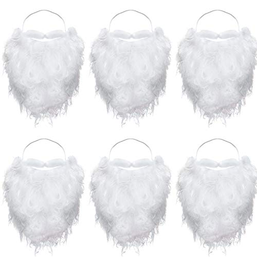 Easy To Make Halloween Costumes From Home (6 Pieces Funny Santa Beard Costume White Fake Beard Christmas Santa Claus Beard Costume Accessories for Teens Adults Disguise Santa Claus on Christmas)