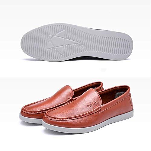 UK Color con Punta 8 Zapatos Mocasines sin Ocasionales de para los Hombres Redonda HhGold Hombres Hombres de Cordones Costuras Tamaño cómodos Cuero Naranja US con MARRÓN para Hombre 9 tp1wO