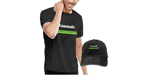 Syins - Camiseta de Manga Corta para Hombre con Logo de Kawasaki y Sombrero de béisbol - Negro - 3X-Large: Amazon.es: Ropa y accesorios