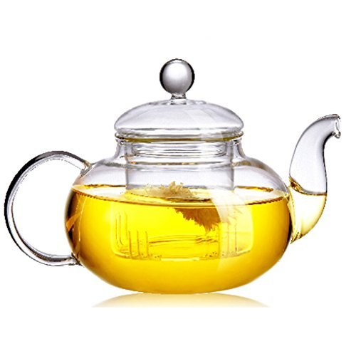 Beylor Clear Glass Teapot Heat Resistant Teapots 600 ml /20.3 oz with Infuser for Tea Leaf Loose Tea -
