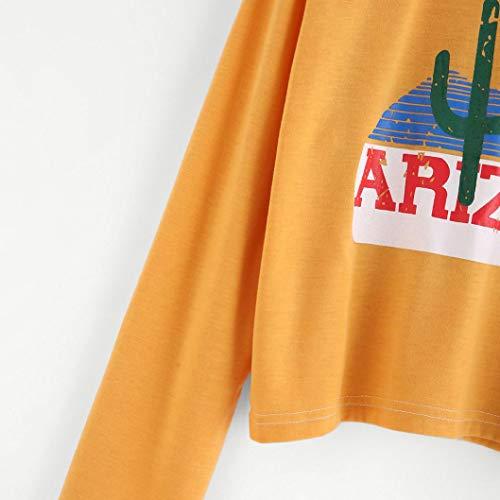 Femmes Tunic Haut Imprim Sport Manches Jaune Sweatshirt Causual Mode Longues Tunique Blouse Chemisier Femmes GongzhuMM Shirt Cactus Chemise Tops fBATanxqv