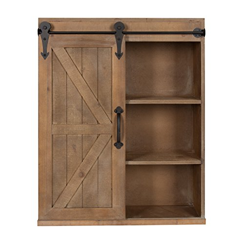 Cabinet Wall Door Solid (Kate and Laurel Cates Wood Wall Storage Cabinet with Sliding Barn Door, Rustic Brown)