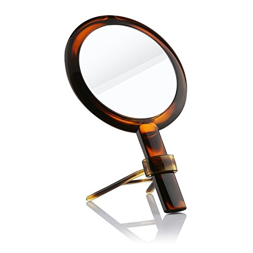 Makeup Mirror, Beautifive Vanity Mirror with Double Sided 1x/7x, Compact Hand Held Mirror with Optional Stand, Magnifying Mirror for Travel, Amber Color