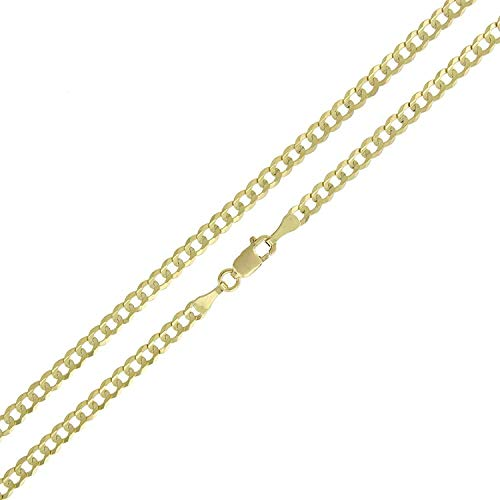 14K Yellow Gold Solid Cuban Curb Link Necklace Chains 2.5MM - 14MM, 16