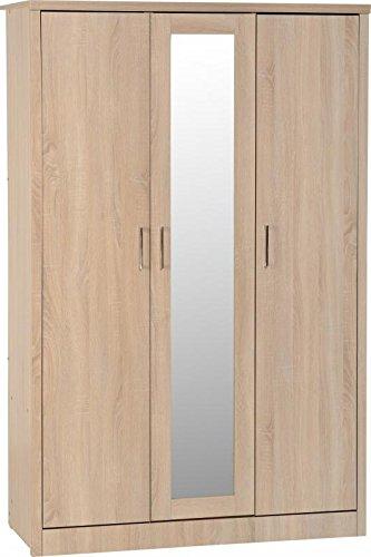Lisbon 3 Door Wardrobe in Light Oak Effect Veneer