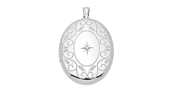 925 Sterling Silver Diamond Side Scallops 19mm Oval Locket Pendant