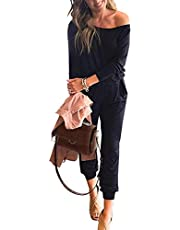 PRETTYGARDEN Women's Casual Long Sleeve Jumpsuit Crewneck One Off Shoulder Elastic Waist Stretchy Romper with Pockets