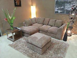 Large Footstool Dylan 2 Seater 3 Seater Jumbo Cord Brown//Mocha Corner Sofa
