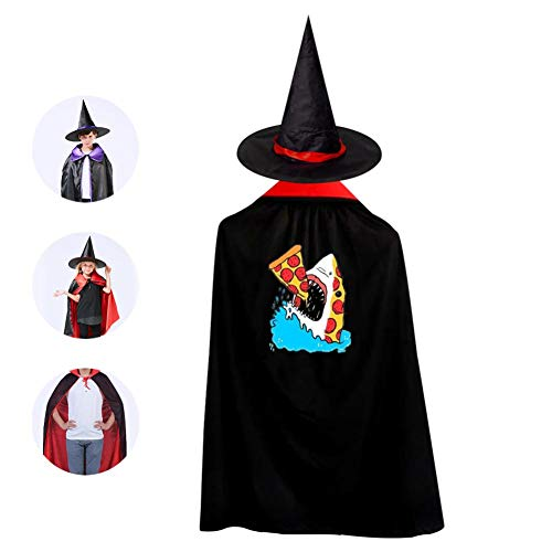 Pepperoni Pizza Shark Boys Girls Halloween Witch Wizard Cloak with Hat -