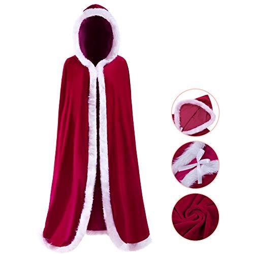 JudyBridal Women's Christmas Cloak Cape Velvet Mrs Santa Hooded Shawl Costume Red L