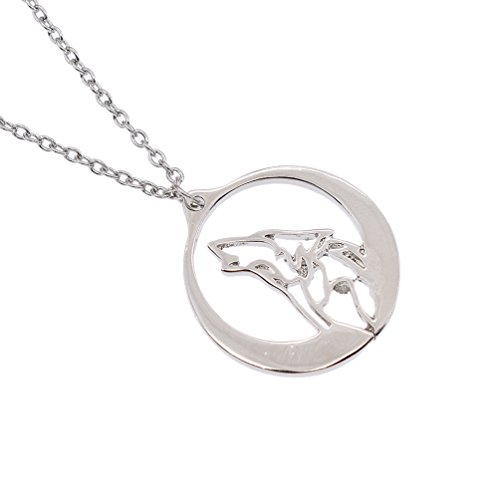 Howling Wolf Pendant Necklace Hollow Circle Frame Jewelry For Women Grils - Which Fit My Frames Face