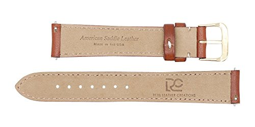 Quick Release American Saddle Genuine Leather Watch Strap Band – American Factory Direct - Gold & Silver Buckles – Made in USA by Real Leather Creations 17mm Cognac FBA770 by Real Leather Creations (Image #3)