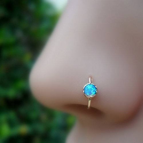 Nose Ring Hoop - Cartilage Tragus Earring -14K Solid Gold - 20G to 16G 3mm Stone by Sampson Jewelry