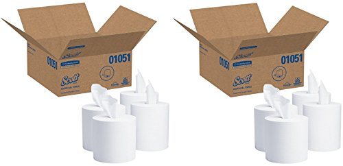 Scott Center Pull Paper Towels (01051) with Fast-Drying Absorbency Pockets, White, 2 Cases (4 Rolls), 500 Paper Towels / Roll by Kimberly-Clark Professional