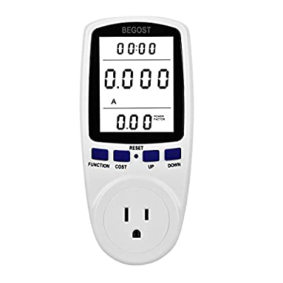 Begost AC 120V Plug Power Meter Energy Electricity Usage Monitor for Energy Saving with LCD Display, Overload Protection and 7 Display Modes
