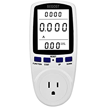 Begost AC 120V Plug Power Meter Energy Electricity Usage Monitor Watt Voltage Amps Meter with LCD Display, Overload Protection and 7 Display Modes for Energy Saving