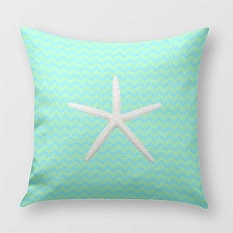 Color verde estrella de mar verde manta funda de almohada ...