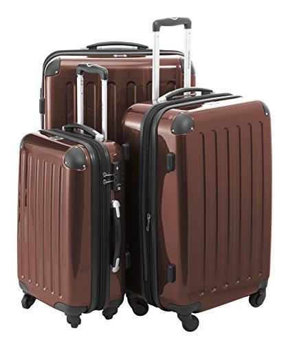 HAUPTSTADTKOFFER® 3er Hartschalen Kofferset · Handgepäck 45 Liter (55 x 35 x 20 cm) + Koffer 87 Liter (63 x 42 x 28 cm) + Koffer 130 Liter (75 x 52 x 32 cm) · Hochglanz · TSA Schloss · MOCCA BRAUN