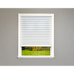 "Easy Lift Select Trim-at-Home Cordless Pleated Light Filtering Fabric Shade, 36 in x 64 in, (Fits Windows 19""-36""), White"