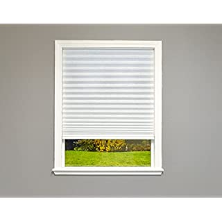 """Easy Lift Select Trim-at-Home Cordless Pleated Light Filtering Fabric Shade, 36 in x 64 in, (Fits Windows 19""""-36""""), White"""