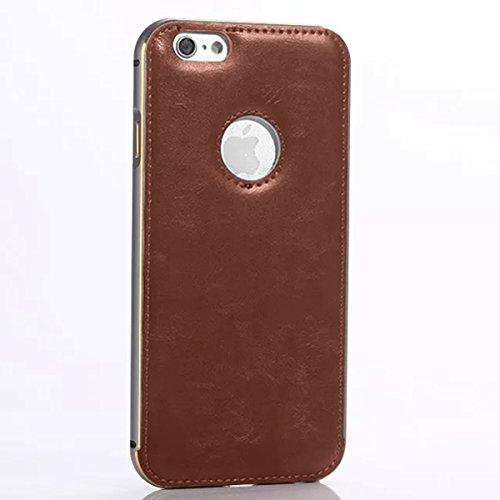 iPhone 5 5S Funda Case LifeePro Stylish 2 in 1 Patrón de teléfono híbrido Caballo Loco [Anti-rasguños] [Antideslizante] Resistente a los golpes PU Cuero café Contraportada + Caja de parachoques de alu Gris