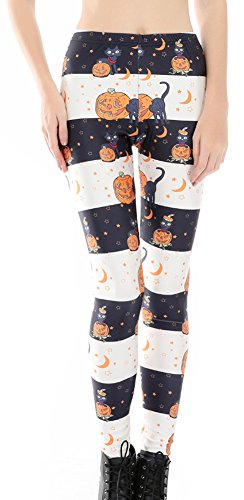 Halloween Leggings (Sister Amy Women's High Waist Skull Printted Ankle Elastic Tights Legging Halloween Skull US M)